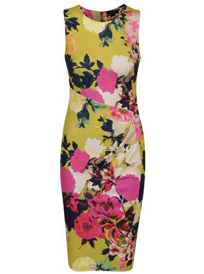 Růžovo-zelené pouzdrové vzorované šaty Dorothy Perkins