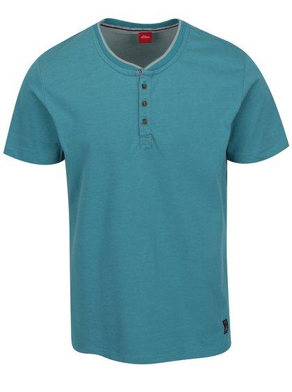 Zelenomodré pánské žíhané triko s knoflíky s.Oliver