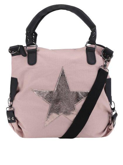 Geantă roz prăfuit Haily's Star M cu imprimeu cu stea