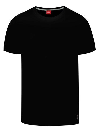 Tricou basic negru din bumbac s.Oliver pentru bărbați