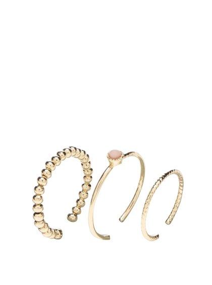 Set tří prstýnků ve zlaté barvě Pieces Nuuk