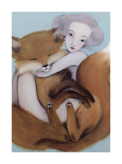 Poster Lisak, in nuante de gri si albastru, Lena Brauner, 50 x 70 cm