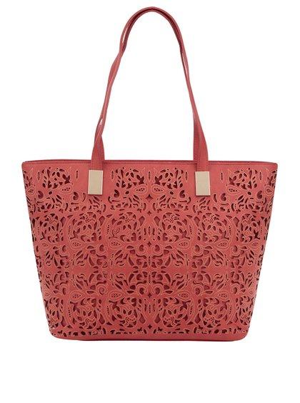 Geantă shopper roșie M&Co cu model cu perforații