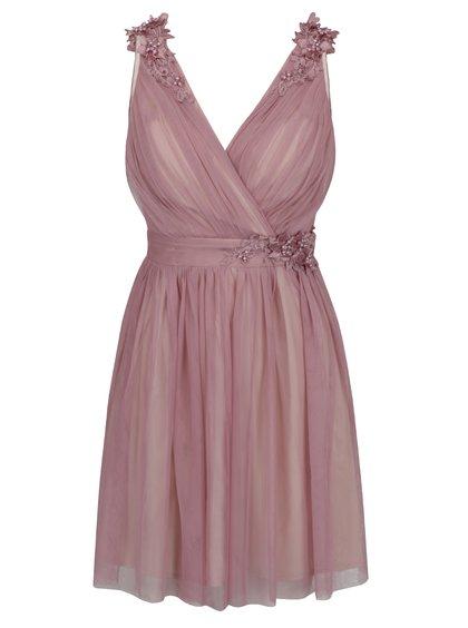 Starorůžové šaty s překládaným výstřihem a plastickým zdobením Little Mistress