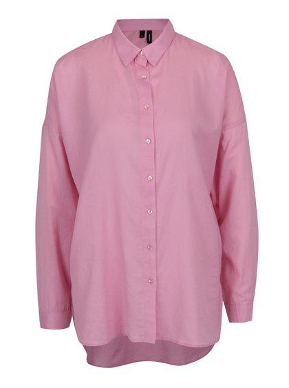 Růžová volná košile s dlouhým rukávem VERO MODA Isabell