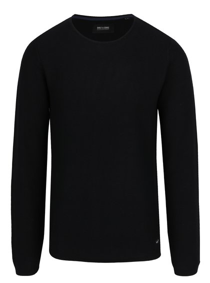 Pulover negru din jerseu subțire ONLY & SONS Gason