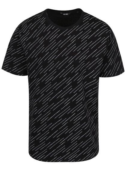 Černé vzorované triko ONLY & SONS Huxie