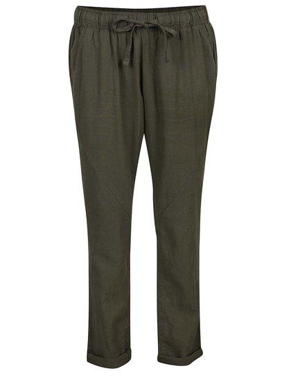 Khaki dámské volné lněné kalhoty s pružným pasem QS by s.Oliver