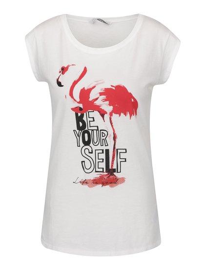 Krémové tričko s potiskem plameňáka ONLY Bone