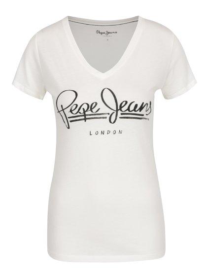 Tricou crem Pepe Jeans Brenda cu print