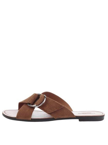 Hnědé dámské semišové pantofle se sponou Vagabond Tia