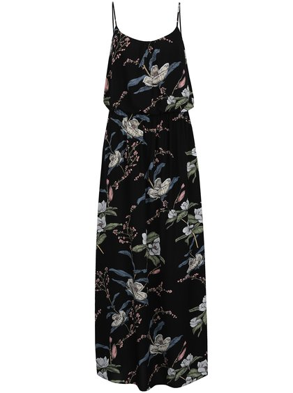 Černé květované maxi šaty ONLY Nova
