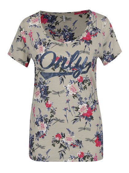 Khaki květované tričko s potiskem ONLY Tessa