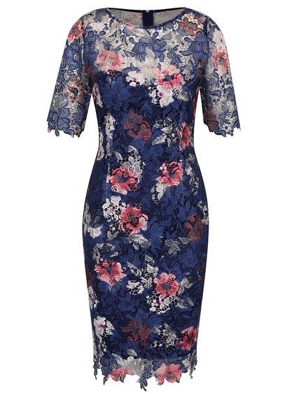 Modré krajkové květované šaty Little Mistress