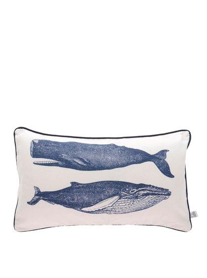 Krémový polštář s potiskem velryb Sass & Belle Vintage
