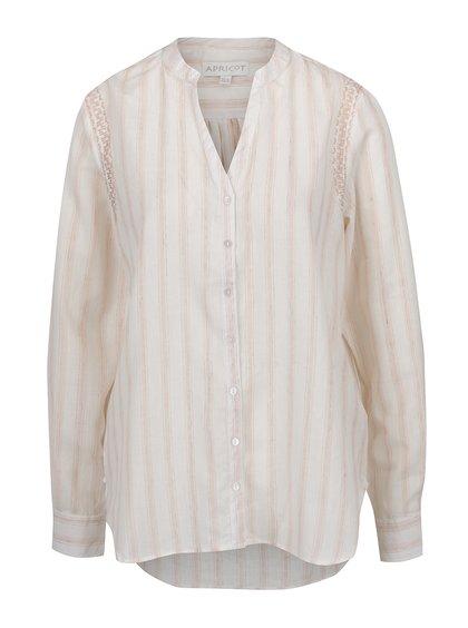 Růžovo-krémová pruhovaná košile s vyšíváním Apricot