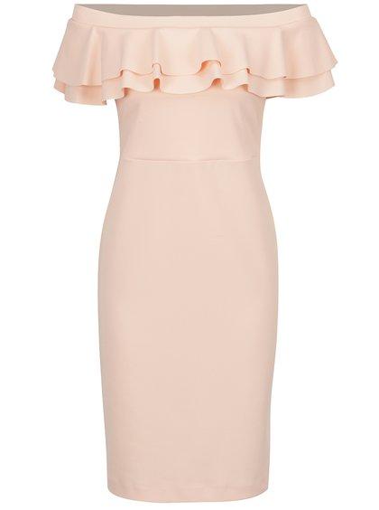 Růžové šaty s volánem a odhalenými rameny Dorothy Perkins Petite