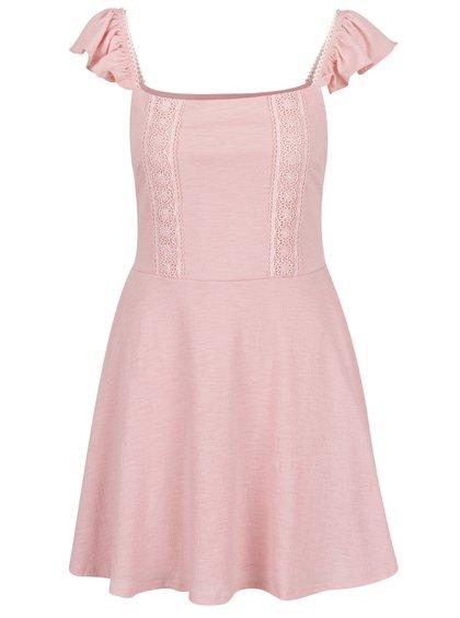 Růžové šaty s volány a krajkou Miss Selfridge Petites