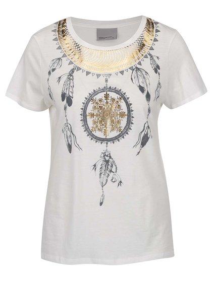 Krémové tričko s potiskem VERO MODA