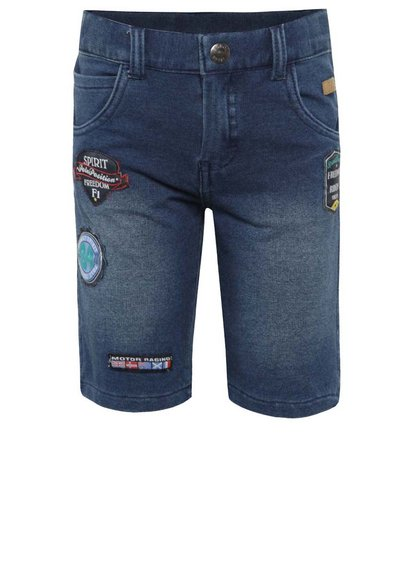 Pantaloni scurți albaștri Bóboli din denim cu aplicații pentru băieți