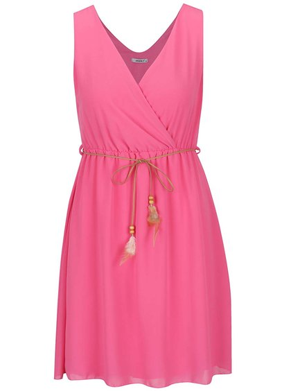 Růžové šaty s ozdobným páskem Haily´s Mira