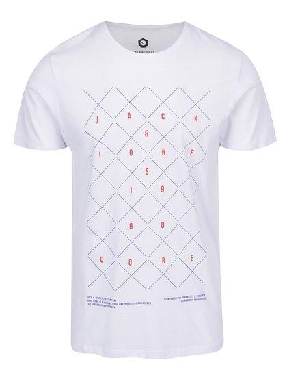 Tricou alb cu print Jack & Jones Concept