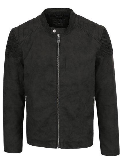Černá koženková bunda Jack & Jones West Biker