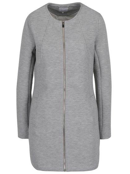 Světle šedý žebrovaný lehký kabát VILA Heather