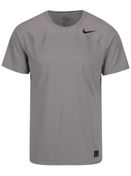 Šedé pánské funkční triko s krátkým rukávem Nike
