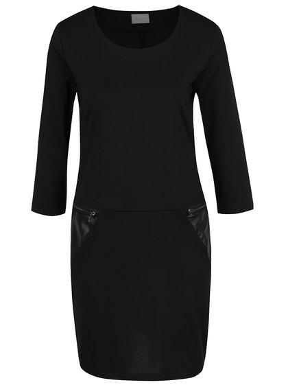 Černé šaty s koženkovými detaily VILA Tinny