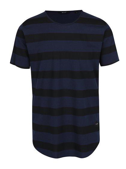 Tmavě modré triko s černými pruhy ONLY & SONS Hako