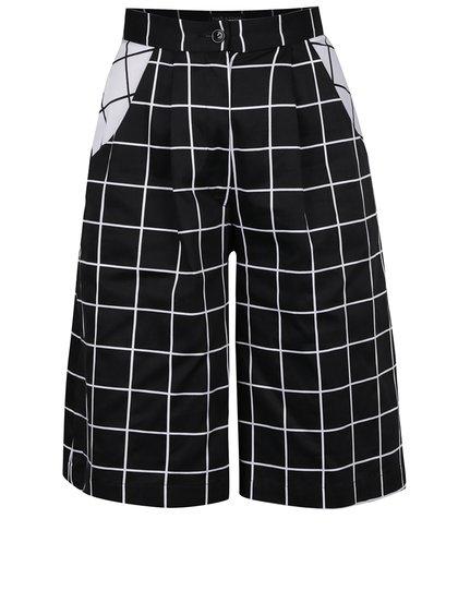 Pantaloni negri culottes THAIS & STROE cu model în pătrățele