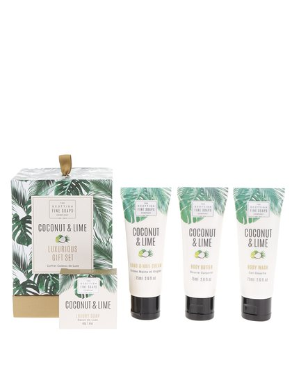 Čtyřdílná dárková kosmetická sada kokos a limeta The Scottish Fine Soaps Company