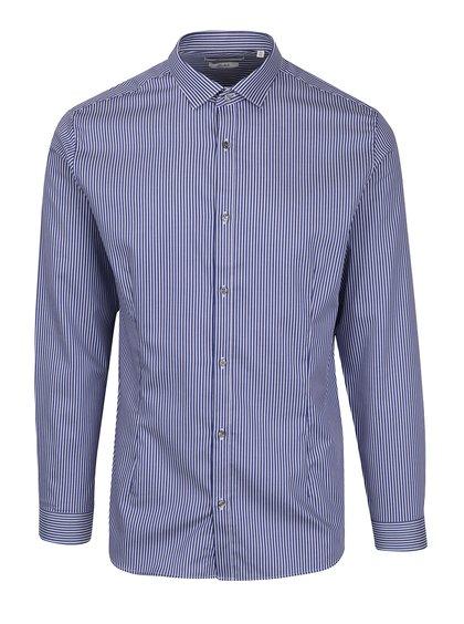 Tmavě modrá pruhovaná super slim fit košile Jack & Jones Premium Parma