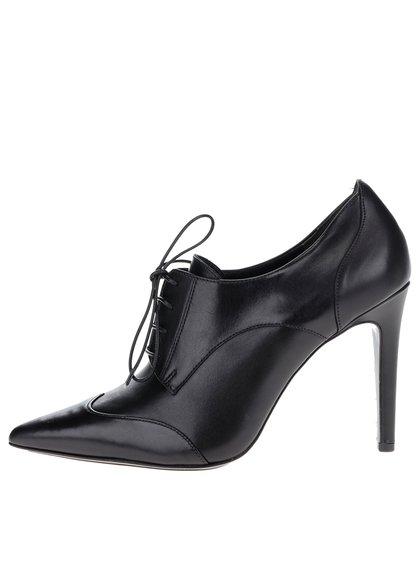 Černé kožené boty na podpatku Högl