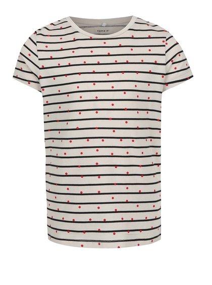 Tricou alb pentru fete  Name it Volta print cu dungi și buline