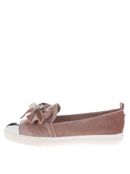 Růžové sametové loafers s mašlí a špičkou ve stříbrné barvě Miss KG Lottie