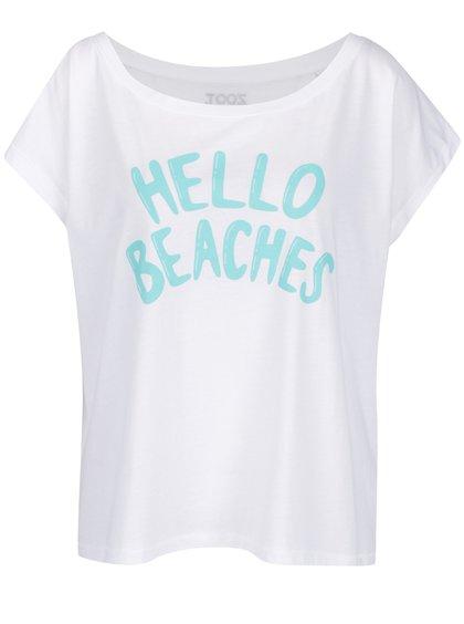 Bílé dámské oversize tričko ZOOT Hello beaches