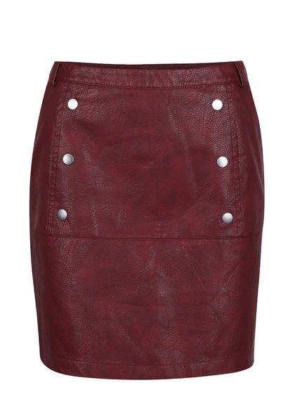 Vínová koženková sukně VERO MODA Cameo