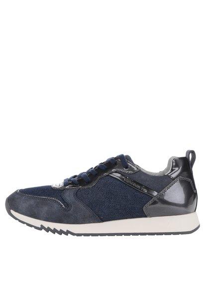 Pantofi sport albaștri din denim cu detalii lucioase Tamaris