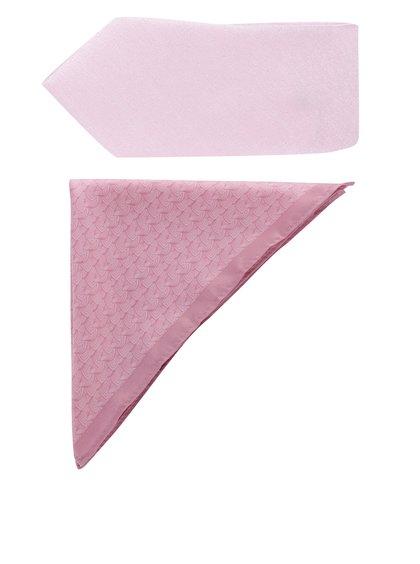 Růžový set kravaty a kapesníčku Burton Menswear London
