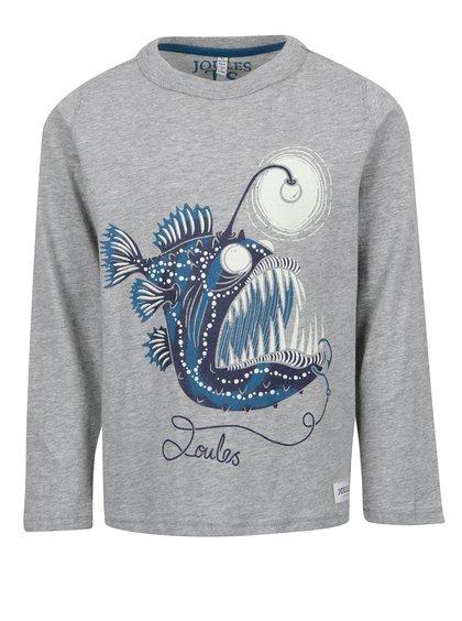 Šedé klučičí triko s potiskem ryby Tom Joule