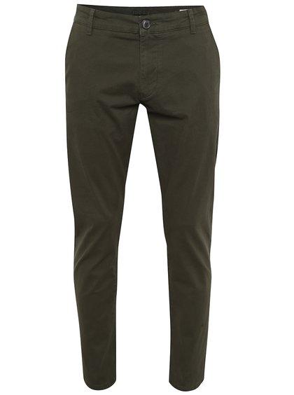 Tmavě zelené chino kalhoty Selected Homme Three Paris