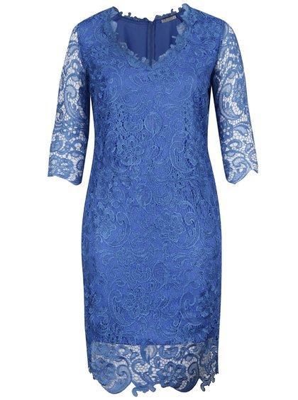 Modré plus size krajkované šaty Miss Grey Arella