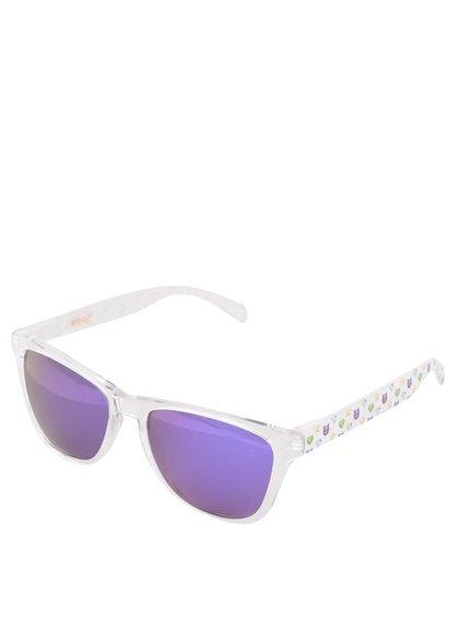 Ochelari de soare unisex albi cu ramă transparentă Emoji Diamond