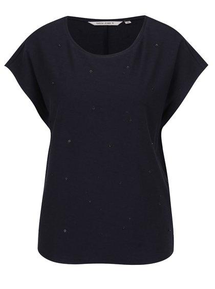 Tmavě modré dámské tričko s korálky a příměsí lnu Garcia Jeans