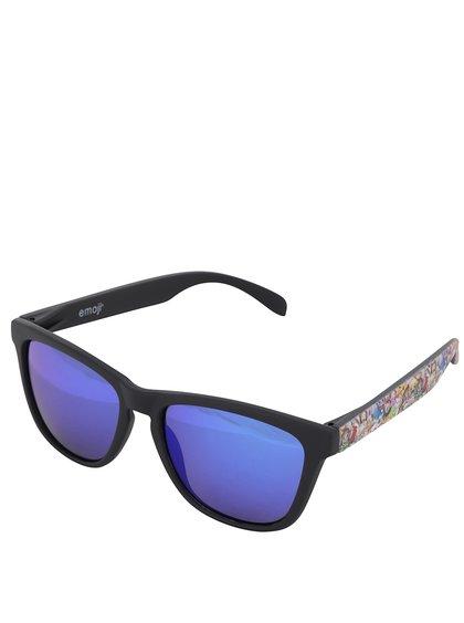 Ochelari de soare unisex negri cu lentile albastre polarizate - Emoji Total Custom