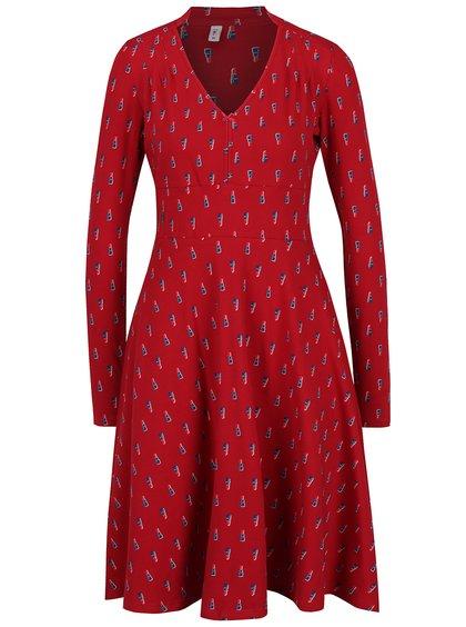 Rochie midi roșie cu print mărunt  Blutsgeschwister