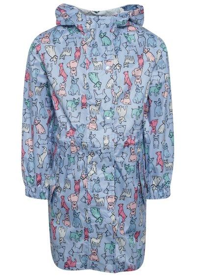 Jachetă parka albastră impermeabiă cu print pentru fete Tom Joule