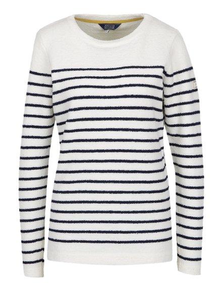 Bluză din fleece crem cu dungi bleumarin Tom Joule
